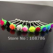 50pcs free shipping mixed colors rose tongue ring flower tongue nail Barbell Rings body piercing jewelry(China)