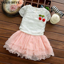 VORO BEVE children's fashion 2017 girls cherry short sleeve layered hollow cotton casual dress kids princess clothing dresses