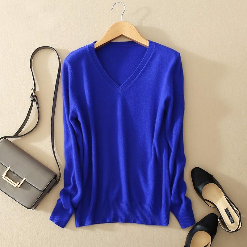 Cashmere Sweater V Neck Women Fashion Autumn Pullovers Knit Cashmere Sweater Women Slim Knit Coat Female Blouse Winter Knitwear 15