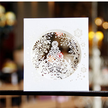 3D pop up paper laser cut cards Merry Christmas 3D Tree Boxes snowflake design Greeging cards vintage postcards Message paper(China)