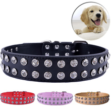 Clear Rhinestones Diamante Collar Pu Leather Dog Collars For Big Dogs Crystal Studded Pet Puppy Neck Strap Size L XL(China)