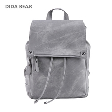 DIDA BEAR Brand Women Leather Backpacks School Bag for Teenage Girls Female Fashion Rucksack Mochila Grey Black Travel Backpack(China)