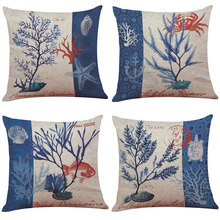 45cm*45cm throw Cushion cover Marine plants; blue corals linen/cotton couch pillow covers Home decorative pillow covers(China)