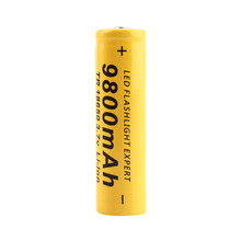 1pcs 3.7V 18650 9800mAh Big Capacity Li-ion Rechargeable Battery for Flashlight Torch Yellow Shell for Torch Low Reoccurring