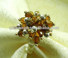 crystal napkin rings brown beaded, acrylic napkin holder for wedding(China)