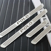 Free shipping High Quality Car Styling for VOLKSWAGEN POLO STAINLESS DOOR SCUFF SILL PANEL STEP PLATES Car Accessories 4PCS(China)