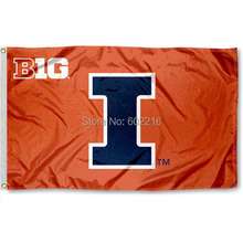 Illinois Big 10 College Large Outdoor Flag 3ft x 5ft Football Hockey College USA Flag(China)