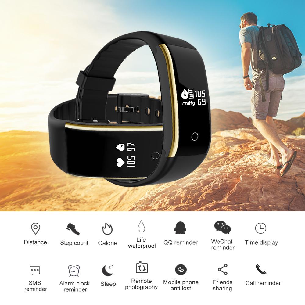 Waterproof Android Pedometer + Blood Pressure & Heart Rate Monitor Wrist Watch 9