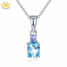 Hutang Natural Blue Topaz & Tanzanite Solid 925 Sterling Silver Pendant Necklace Gemstone Fine Jewelry Women's Xmas Gift 11.11(China)