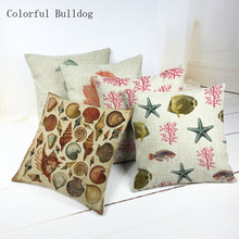Throw Pillow Comfortable Marine Organism Home Hotel Decor Cojines Almofada Square 45*45cm Car Seat Linen Cotton Pillow Case