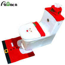 Christmas Decorations Santa Toilet Seat Cover And Bathroom Rugs Sets Christmas Bathroom Party Decoration Toilet Tank Seat Cover(China)