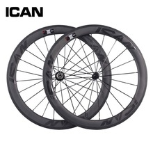 ICAN BIKES 56mm carbon clincher wheelset 27mm width basalt surface 700c bicycle wheel glossy black logos carbon road wheels W56C
