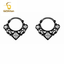 Black Hoop Earrings Square Rhinestone Beautiful Hollow Earring with G23 Titanium Pole NS81 Women Jewelry Earrings