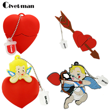 U Disk Pen Drive Cartoon Red Heart Best Gift 4GB 8GB 16GB 32GB 64GB Bulk USB Flash Drive Flash Memory Stick Pendrive Mini Cupid(China)