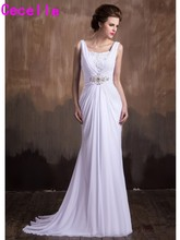 2017 Mermaid Long Chiffon Beach Wedding Dresses Straps Ruched Informal Reception Bridal Gowns Custom Made Robe De Mariee(China)