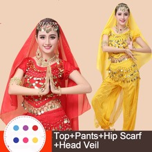 Sexy Women Cheap Price Bollywood Bellydance Costume Oriental Belly Dance Costumes Set For Sale 4 Pieces Top Pants Veil Scarf(China)