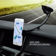 Mpow Universal Windshield Dashboard Car Mount Holder Long Arm Phone Holder Cradle w/ Extra Dashboard Base for iPhone etc Phones(China)