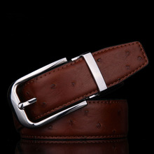 LGFWB216  110CM TOP CALF skin full grain genuine leather  retro Ostrich SKIN PATTERN men leather belt belt