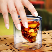 Transparent Glass Skull Mugs Coffee Cups Bilayer Bar Wine Beer Drinkware Gift Skull Glass CupHead Skull Vodka Whiskey Pirate(China)