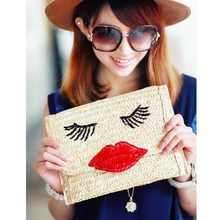 Sexy Red Lips Straw Handmade Bag Ladies Woven Straw Message Bag Flap Chain Shoulder Bag Handbag Woman Beach Bag Day Clutch Purse