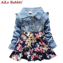 AiLe Rabbit 2017 spring and summer new Korean girls long-sleeved floral dress fashion denim dot kids clothing free shipping
