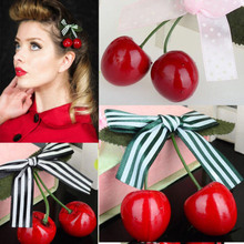 Women Girl Cute Bow Cherry Hair Clip Hairclip Bang Side Clip Hairpins Red Berry Hair Brarrette Clips Hair Accessories for Women(China)