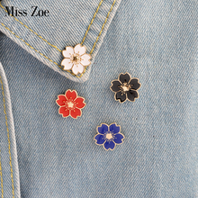 Miss Zoe 5pcs/set Cherry Blossoms Flower Brooch Pins Button Pins Denim Jacket Pin Badge Japanese Style Jewelry Gift for Girls(China)