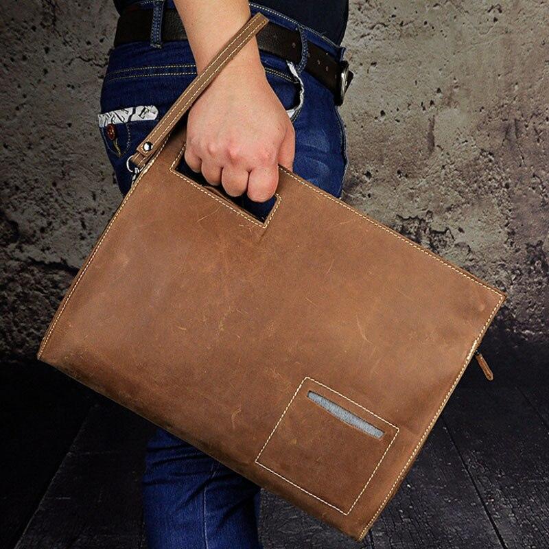 New Mens High Quality Crazy Horse Cowhide Clutch Bag Retro Business Casual Handbag Single shoulder Crossbody bag <br>