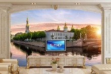 Large 3d murals,Russia St. Petersburg Bridges Temples Canal Cities wallpapers,living room sofa tv wall bedroom papel DE parede(China)