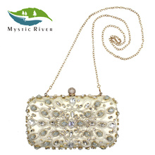 Mystic River Women Beaded Clutches Pink Day Clutch Rhinestone Diamond Party Evening Purses Messenger Bag