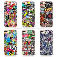 Hot Sale Sticker bomb Hard Transparent Phone Case Cover Coque for Apple iPhone 4 4s 5 5s SE 5C 6 6s 7 Plus