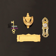 Free shipping 1:12 Dollhouse Fairy Door Accessories Hardware Metal Doorknob Key Mailbox Knocker Imitation diamond style 4pcs(China)