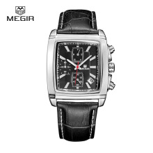 MEGIR Watch Men Chronograph Function Date Lumino Titan Watches Genuine Leather Luxury Brand Military Watches Relogio Masculino