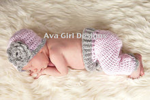 Free shipping Crochet Baby hat and pant set pink grey flower 0 - 3 months Newborn photo prop