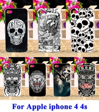 AKABEILA Hard Plastic Cell Phone Covers Suitable For iPhone 4 4s Cases Cool Skull Pattern Custom Phone Skin Case Shell Hood