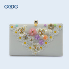 GOOG.YU New Rectangular PU Leather White Flower Decoration Dinner Package Fashion Small Box Shape Carry Small Items Storage Bag