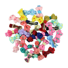5 pairs/pack Fashion Girls Kids Candy Color Dot Flower Print Ribbon Bow Hairpins Hair Clips Children Hair Accessories