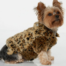 Name Brand Fur Coat Leopard Print Big pet Dog Winter Clothes for Warm Fleece Jacket With Bling Crown Pin Panic buying(China)
