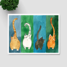 Watercolor Cat Art Print Poster Green Yellow Art Wall Hanging Wall Decor Lovely Cat Painting Wall Art Decor AP132(China)