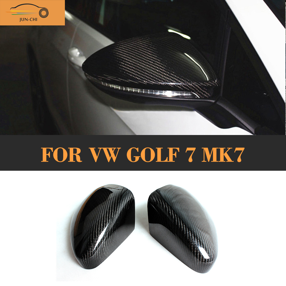 Carbon Fiber Side Rearview Mirror Covers Trim Caps For VW Golf 7 MK7 2014 2015 2016 fir for GTI R Standard(China (Mainland))