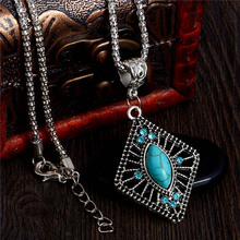 H:HYDE 2017 Fashion Antique Stone Geometric Shape Pendant Long Chain Necklace Jewelry For Women