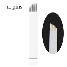 50 Pcs Microblading Needles 11 Pins for Microblading Embroidery Pen Pernement Makeup Eyebrow Tattoo Supplies(China)