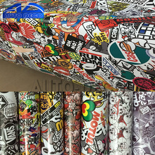 Over 10 kinds Stickerbomb Vinyl Wrap Stickers Adhesive Cartoon Skull JDM Printed Motorcycle Scooter Racing Car Wrapping Film