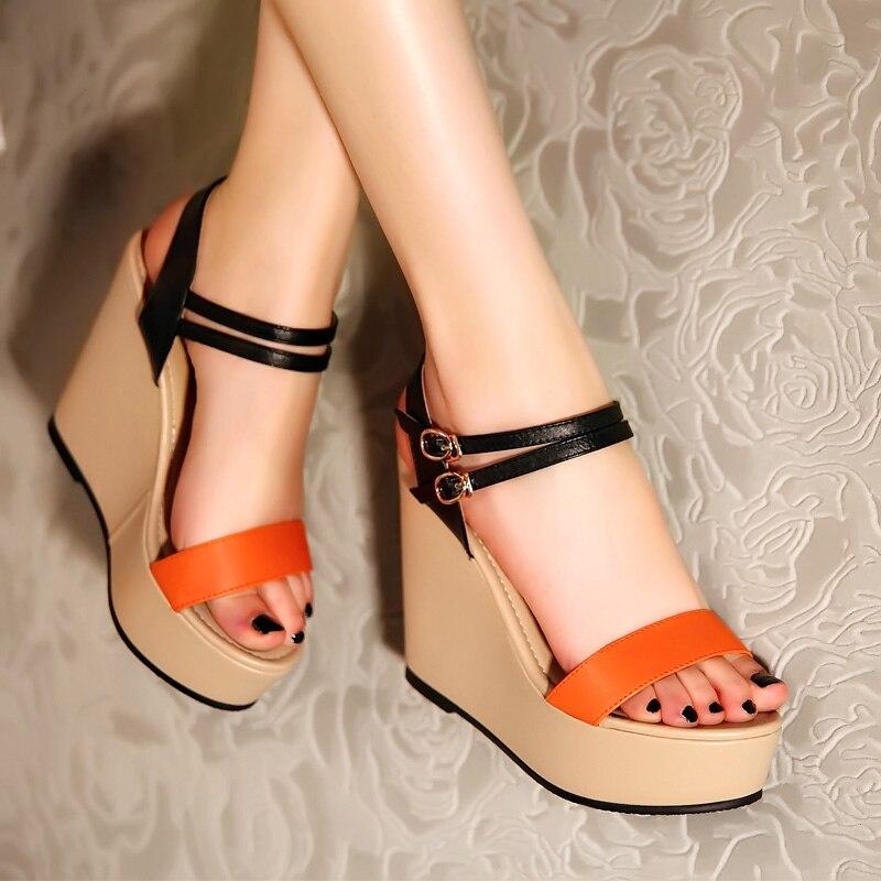Summer Sandal Female High Heel Wedges Plattform Sandals Candy Color Shoes for Women sys-852<br><br>Aliexpress