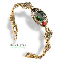 2017 mujer vintage bracelet victoria romance retro crystal green marine wine red stones flower charms bracelets silver plated