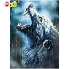 DPF diamond Вышивка дождь волк Вышивка с кристаллами картина из страз Полный площадь Алмазная Мозаика Декор DIY(China)