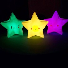 5 Color reative LED Night Light for Kid's Room Decorations Cute Star Lamp Smile Face Letter Lighting for Birthday Toy Gift(China)