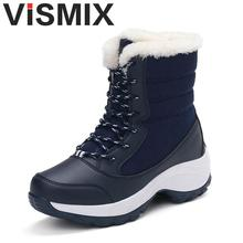 VISMIX Women Boots Solid Slip-on Soft Cute Women Snow Boots Fashion Hot Sale Shoes Round Toe Flat With Winter Fur Ankle Boots(China)