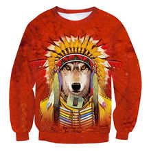 Tie Dye Funny Dog Cosplay American Indian 3D Animal Hoodies Sweatshirts Cool Men Red Hoody For Unisex Sweat Tide Clothes S-5XL