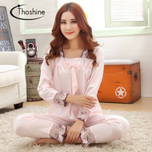 Thoshine 2017 Spring Autumn Chinese Satin Silk Pajamas Sets of Sleepcoat & Pants Female Nighty Sleepwear Lady Pijama Size 3XL